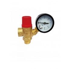 Предохранительный клапан с манометром красный 1/2 г-ш 3бар