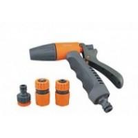 Набор пистолет 1 струя + коннектор , коннектор с аквастопом  + штуцер (7508)